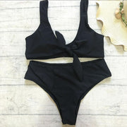Front Tie Plain Two Pieces Bikini