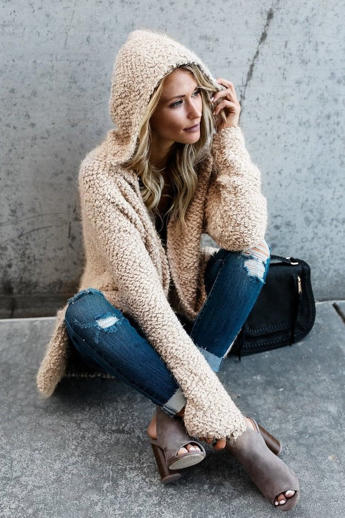 Candy Color Open Hooded Short Cardigan Coat