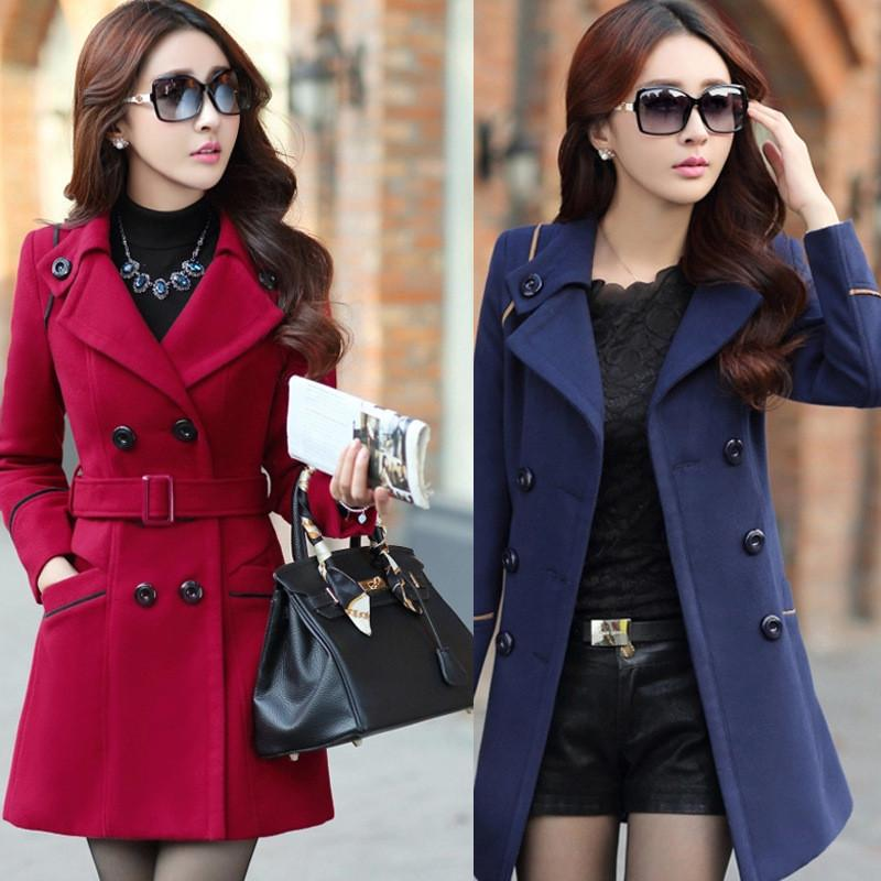 Slim Long Sleeves Button Wool Length Coat With Belt