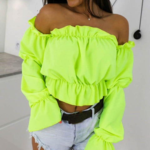 Candy Color Off Shoulder Crop Tops Women Summer Dot Print Lantern Sleeve Shirts Lady Sexy Slash Neck Beach Blouse