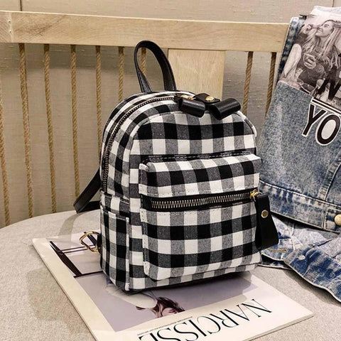 Plaid Mini Rucksack Female Travel Laptop Backpack Book Schoolbags School Backpack Casual Rucksack Women Bag