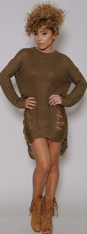 Hollow Out Knitting Long Sweater Dress