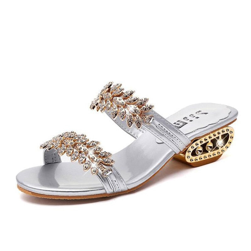 Leather Rhinestone Ourdoor Cutout Slippers