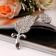 Elegant Women Lady Feather-Like Leaf Rhinestone Breastpin Brooch Pin Decoration - Oh Yours Fashion