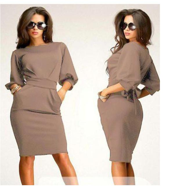 Unique Puff 3/4 Sleeves Bodycon Knee-length Casual Dress - MeetYoursFashion - 3
