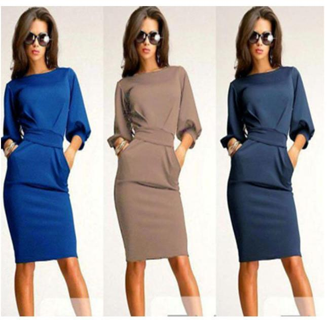 Unique Puff 3/4 Sleeves Bodycon Knee-length Casual Dress - MeetYoursFashion - 4