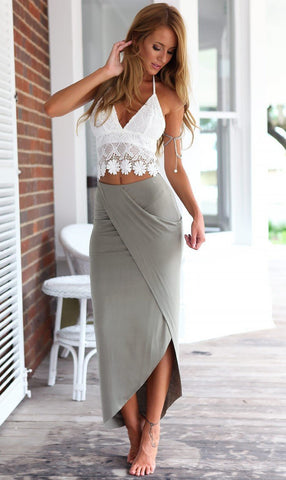 Lace Halter Backless Crop Top with Irregular Long Skirt Dress Suit - Bags in Cart - 4