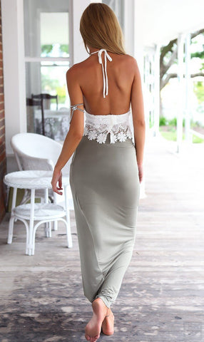 Lace Halter Backless Crop Top with Irregular Long Skirt Dress Suit - Bags in Cart - 5