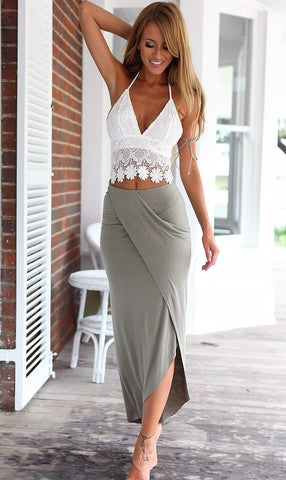 Lace Halter Backless Crop Top with Irregular Long Skirt Dress Suit - Bags in Cart - 1