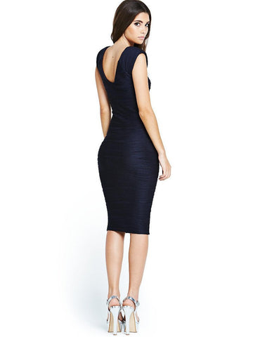 Scoop Sleeveless Knee-length Fold The Wave Grain Pencil Dress