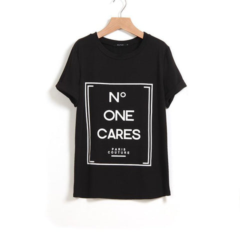 N Letters Flower Print Scoop Short Sleeves Fashion T-shirt