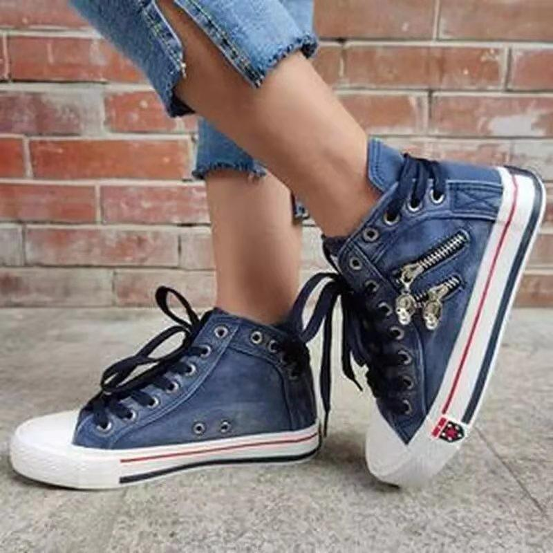 Women Denim High-Top Back Lace-UP Design Canvas Sneakers Shoes