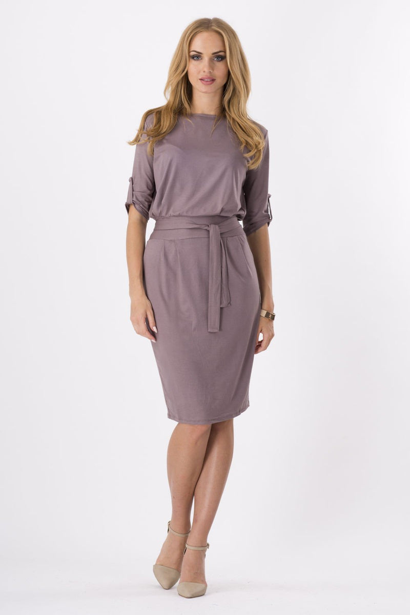 Pure Color Belt Decorative Half Sleeves Pencil Knee-length Dress