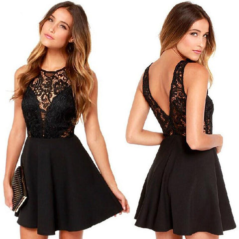 Sexy Hollow Out Embroidery Lace V-neck Backless Short Dress
