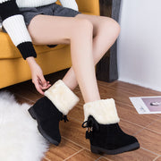 Flat Lace Up Round Toe Suede Boots