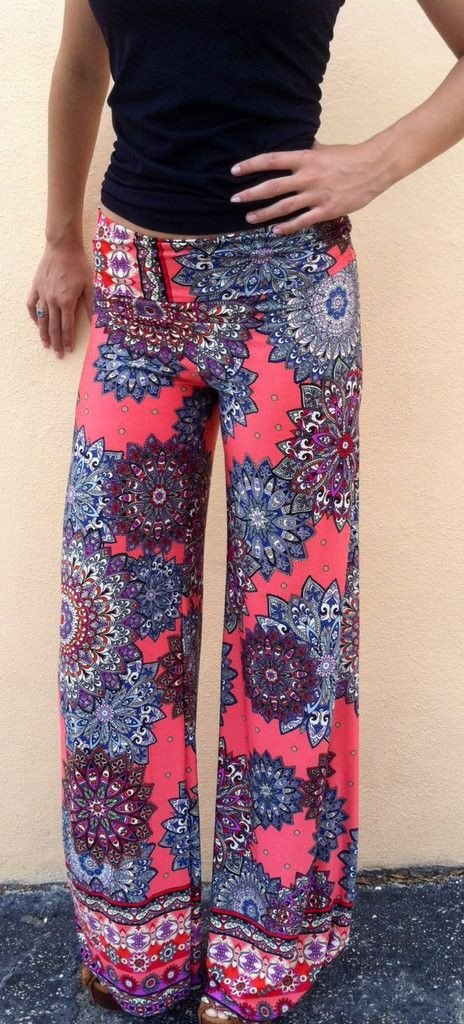 Flower Print High Waist Straight Long Pants