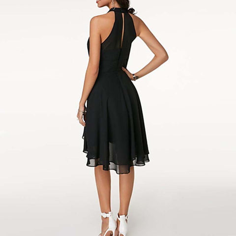 Chiffon Ruffle Halter High Waist Plain Dress