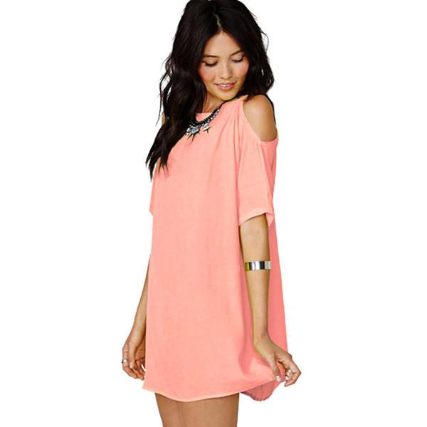 Chiffon Hollow O-neck Short Sleeve Short Dress