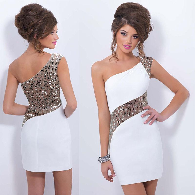 One Shoulder Sequins Mini Bodycon Party Dress - Shoes-Party - 3