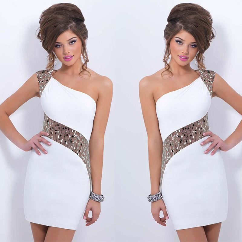 One Shoulder Sequins Mini Bodycon Party Dress - Shoes-Party - 5