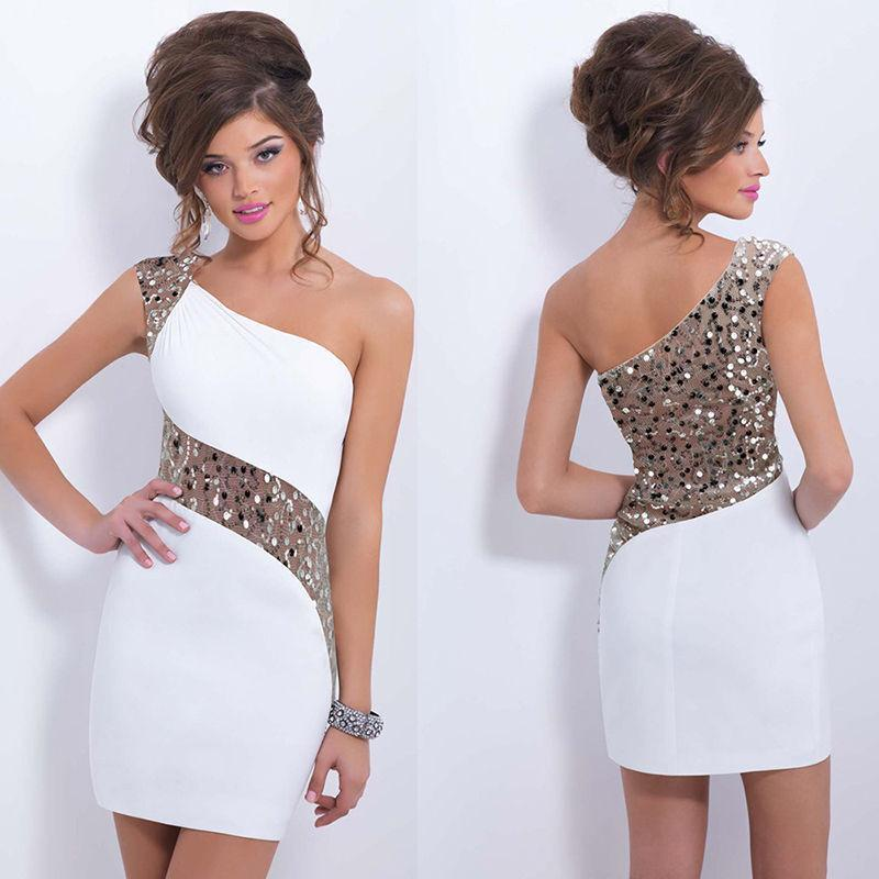 One Shoulder Sequins Mini Bodycon Party Dress - Shoes-Party - 1