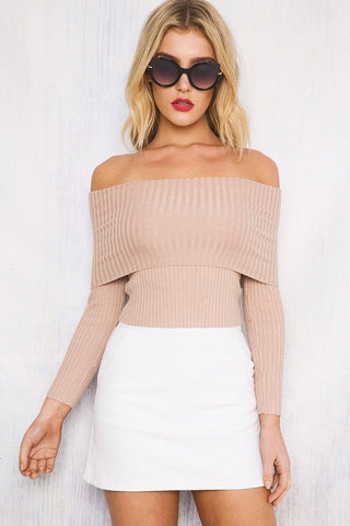 Long Sleeves Pure Color Off Shoulder Slim Sweater