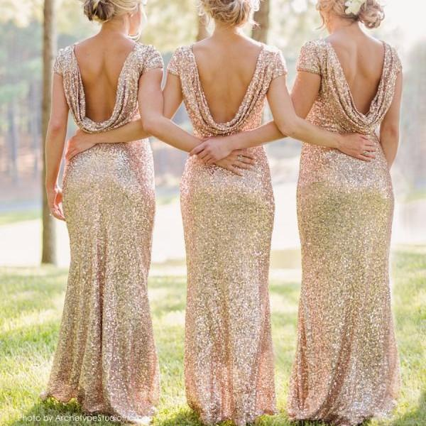 Shinning Backless Sequined Long Party Bridesmaid Dress - Shoes-Party - 1