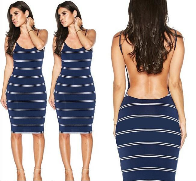 Backless Stripe Knee Length Bodycon Dress - Shoes-Party - 3
