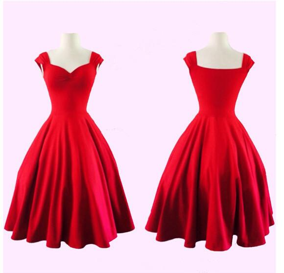 Pure Color Square Sleeveless Ball Gown Vintage Knee-length Dress - Meet Yours Fashion - 1