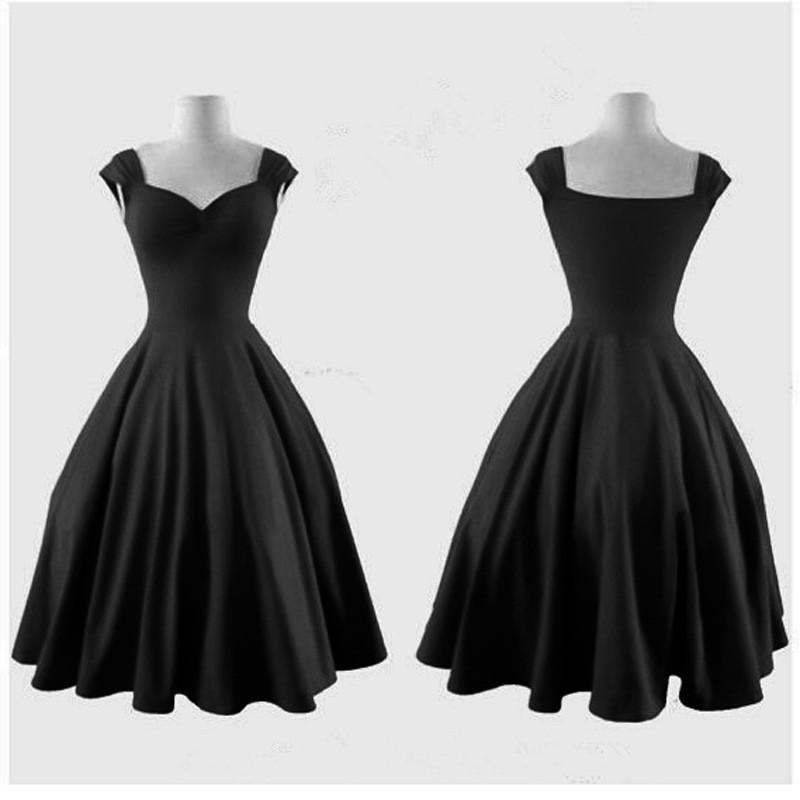 Pure Color Square Sleeveless Ball Gown Vintage Knee-length Dress - Meet Yours Fashion - 4