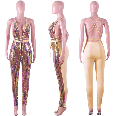 Sequin Stripe V Neck Bandage Backless Jumpsuit