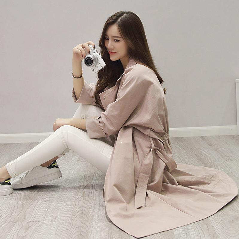 Pure Color Simple Style Lapel Belt Pleated Long Coat