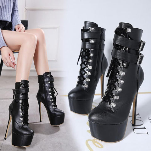 Black Platform PU Strap High Heel Buckle Calf Boots