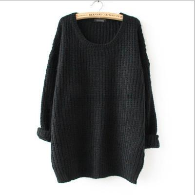 Long Pullover Loose Solid Color Knit Sweater - Bags in Cart - 3