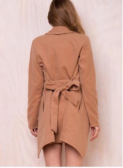 Khaki Lapel Asymmetric Woolen Coat - Bags in Cart - 4