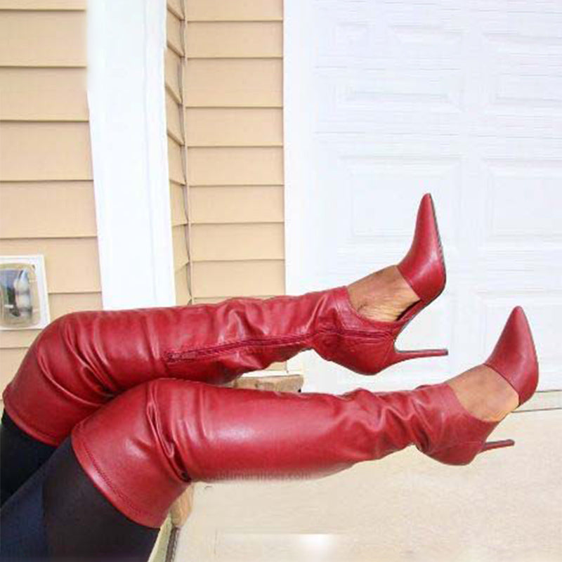 Party Red PU Pointed Toe Cutout Over Knee Boots