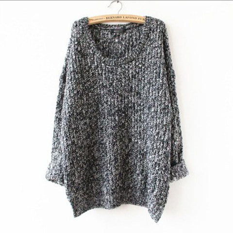 Long Pullover Loose Solid Color Knit Sweater - Bags in Cart - 5