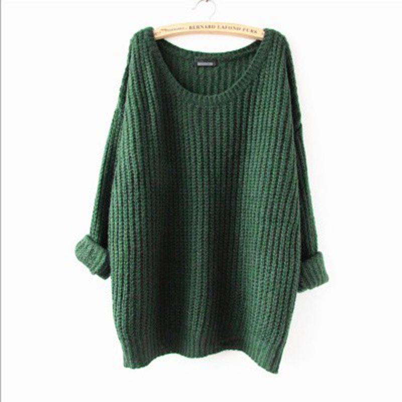 Long Pullover Loose Solid Color Knit Sweater - Bags in Cart - 2