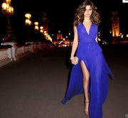 V-neck Sleeveless Sexy Split Chiffon Long Dress - Shoes-Party - 4