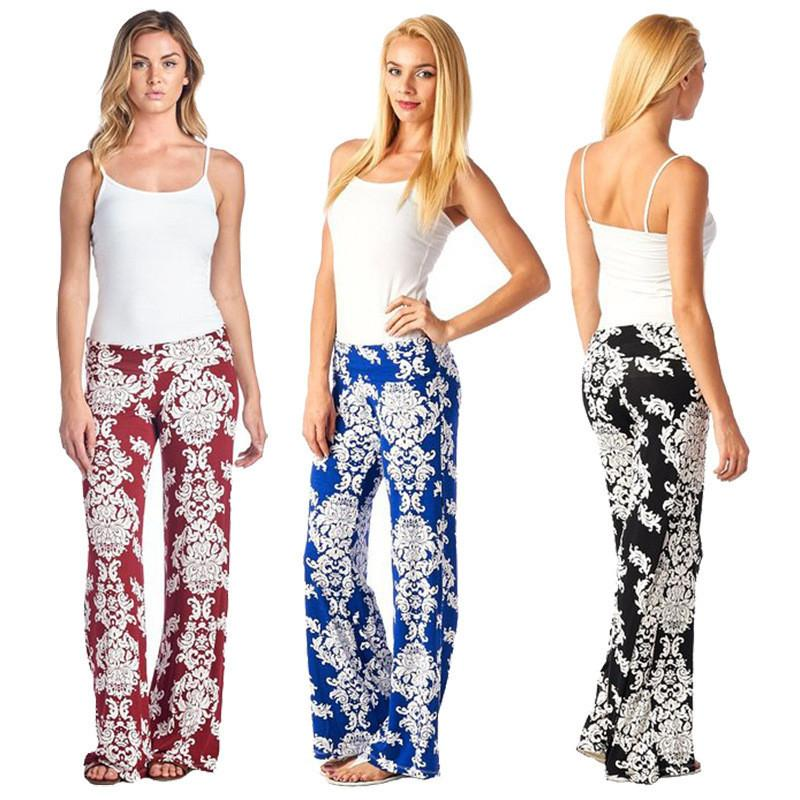 Straight Fashion Flower Print Casual Wide Legs Pants