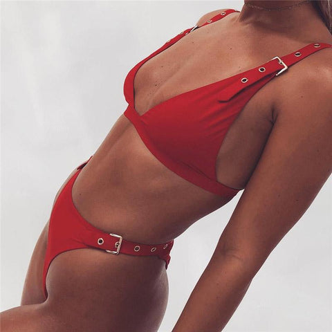 Deep V-neck Straps Hasp Adjustable Low Waist Two Pieces Swimwear