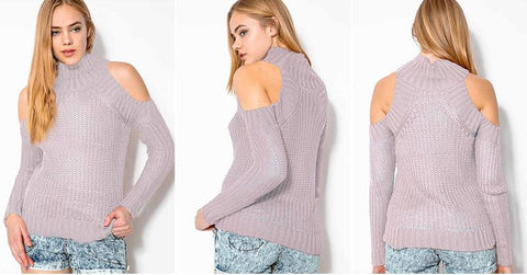Bear Shoulder High Collar Hollow Pure Color Sexy Sweater - Bags in Cart - 5