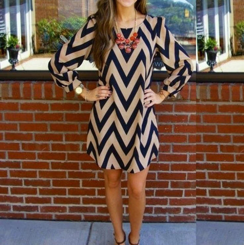 Stripe O-neck Long Sleeve Short Dress - Shoes-Party - 1