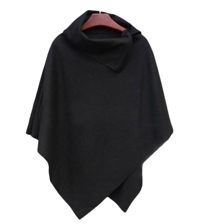 Irregular Hem High Neck Loose Cloak Shawl Coat