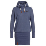 High Neck Bodycon Hoodie Sweatshirt - Bags in Cart - 1