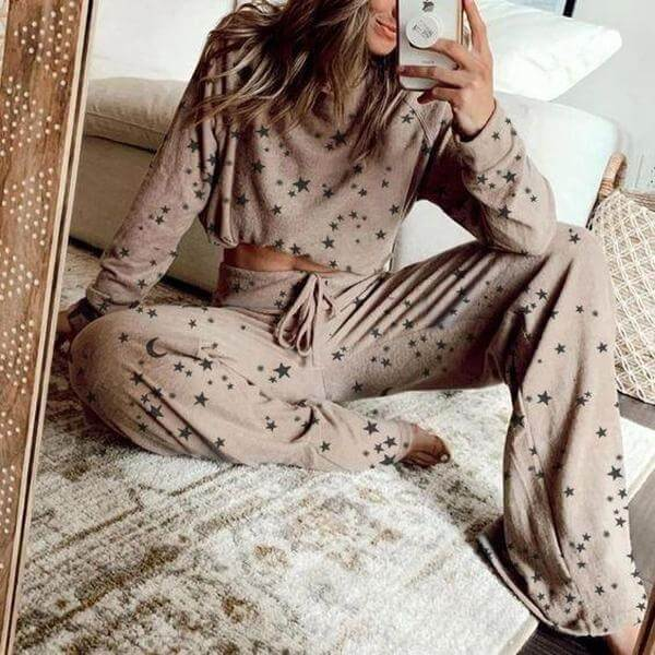 Casual Star Print Loose High Waist Long Sleeve Wide Leg Two Pieces Set