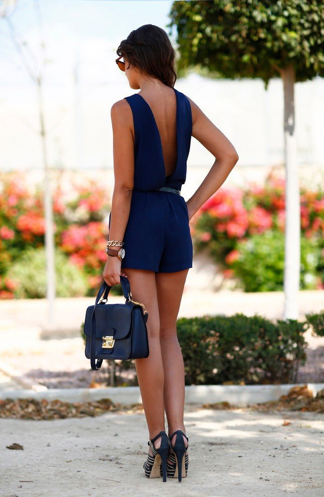 Backless Sleeveless Belt Loose Pure Short Jumpsuits - Meet Yours Fashion - 5