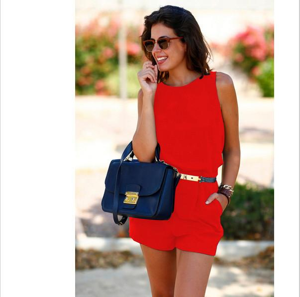 Backless Sleeveless Belt Loose Pure Short Jumpsuits - Meet Yours Fashion - 4