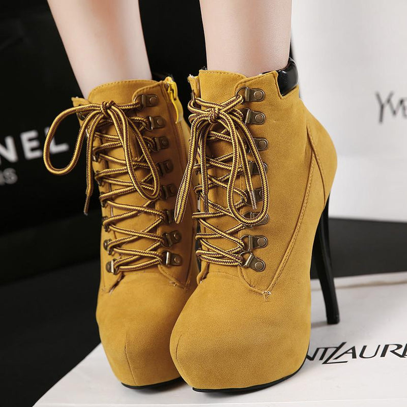 Pointed Toe High Heels Lace Up Side Zipper Ankle Bootie Solid Boots