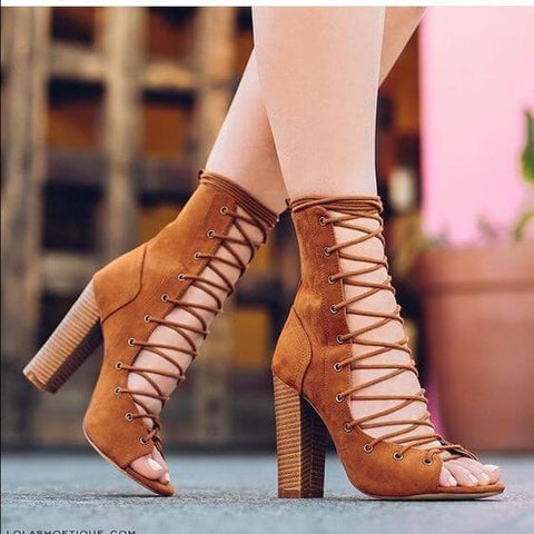 Brown Suede Chunky Heel Sandals